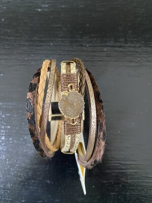 Druzy Leather Magnetic Bracelet