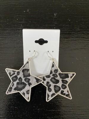 Animal Print Star Earrings