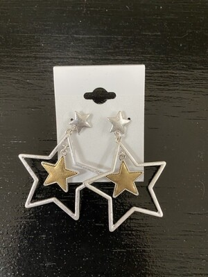 Dangling Star Post Earrings
