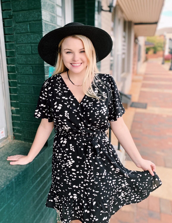 Black Printed Surplice Dress