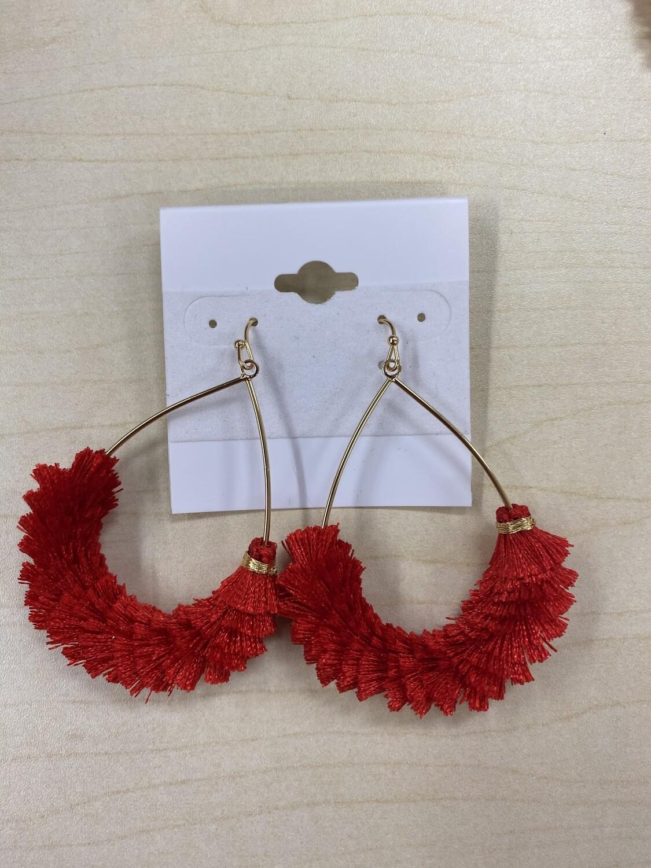 Fringe Tassel Oval Earrings