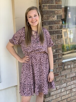 Neck Tie Mauve Leopard Dress