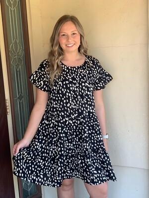 Black Speckled Babydoll Dress