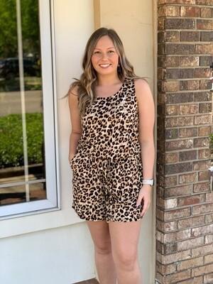 Leopardprint Sleeveless Romper