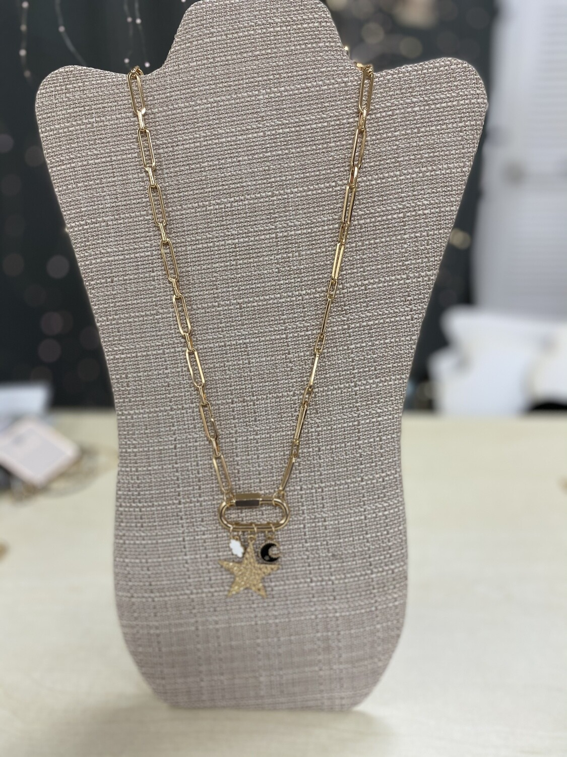 Gold Long Chain Necklace with Charms