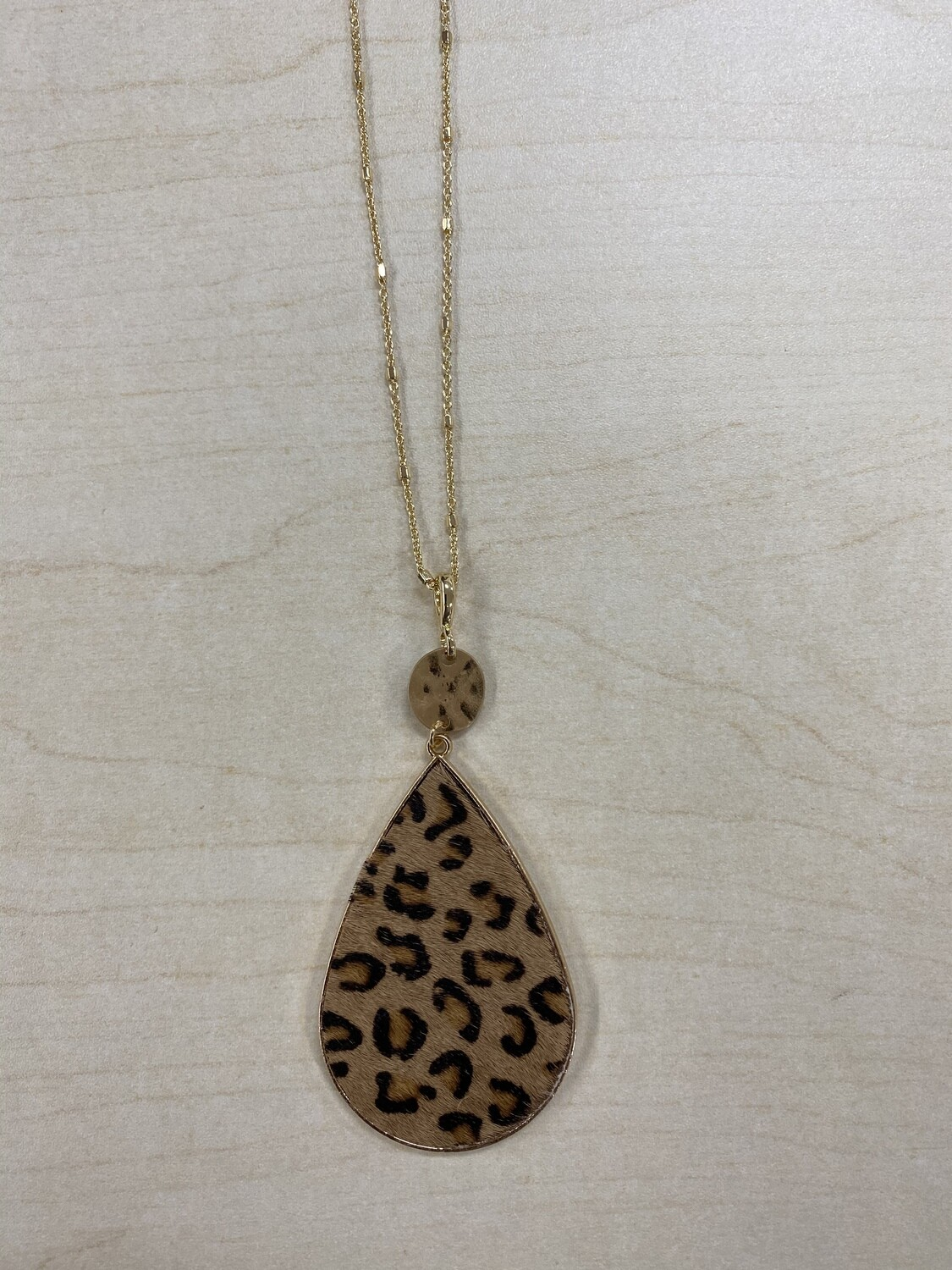 Long Oval Pendant Animal Print Necklace