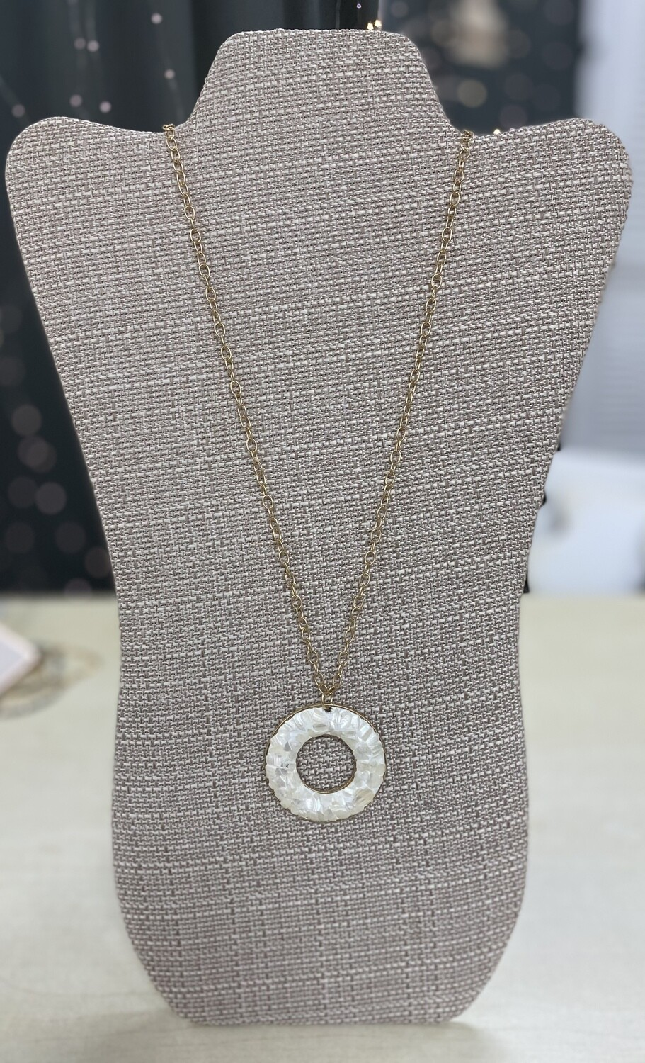 White Circle Gold Necklace