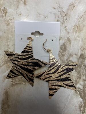 Large Star Animal Print Earrings