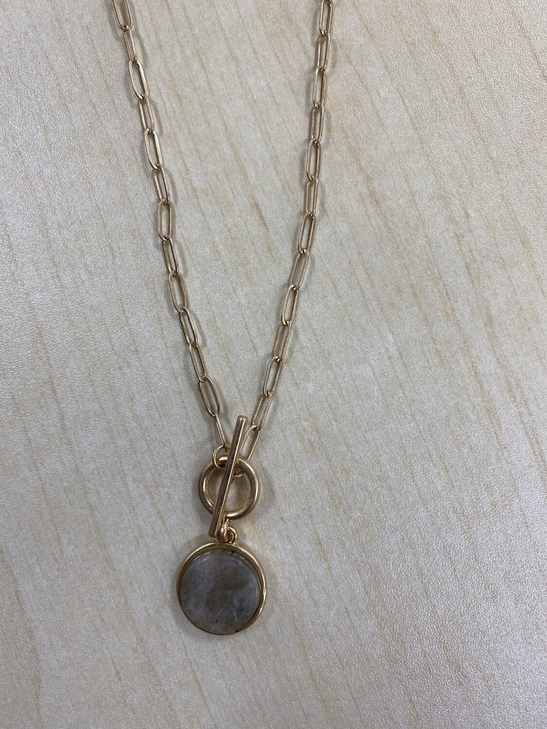 Small Gray Stone Chain Necklace