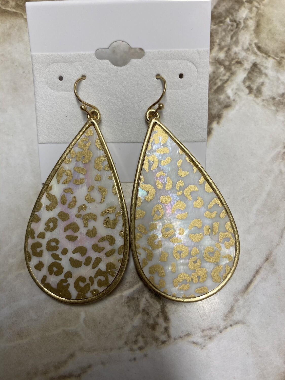 Leopard Oval Marble Earrings