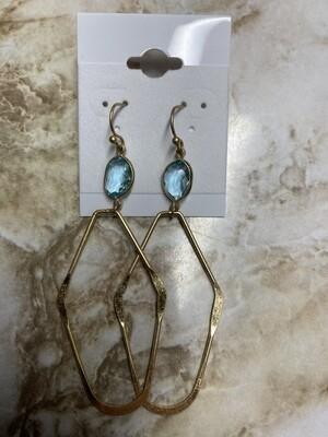 Dark Gold Clear Stone Shaped Earrings