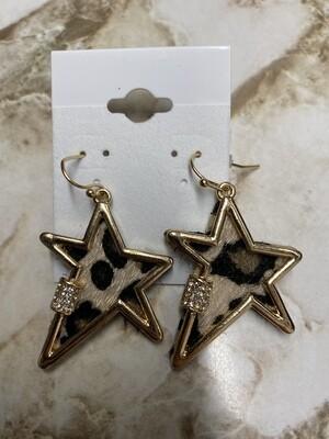 Pointed Star Leopard Earrings
