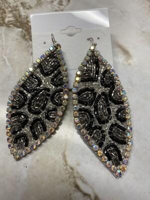 Large Bling Leopard Earrings