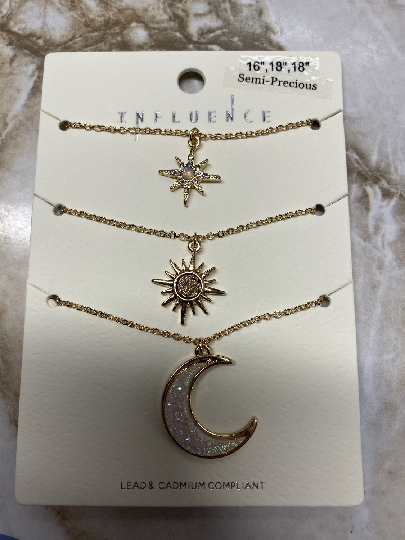 Stars and Moon Three Necklace Set