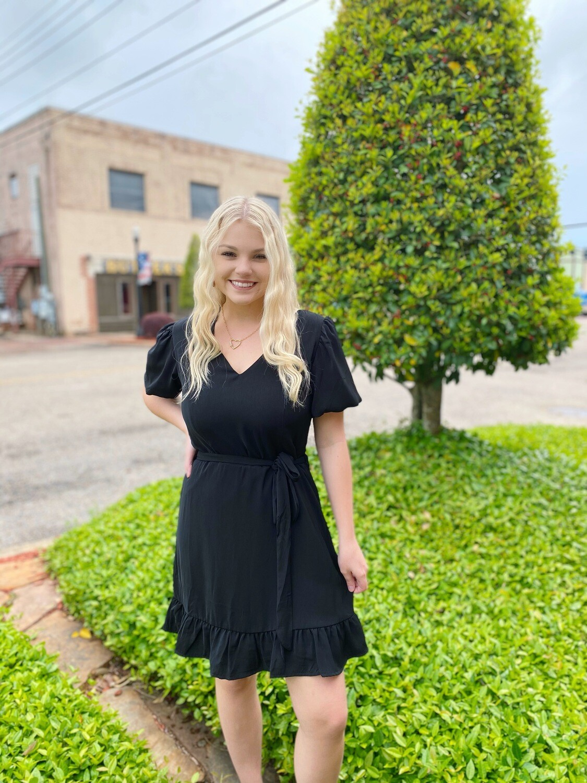 Black Bubble Sleeve V-Neck Dress