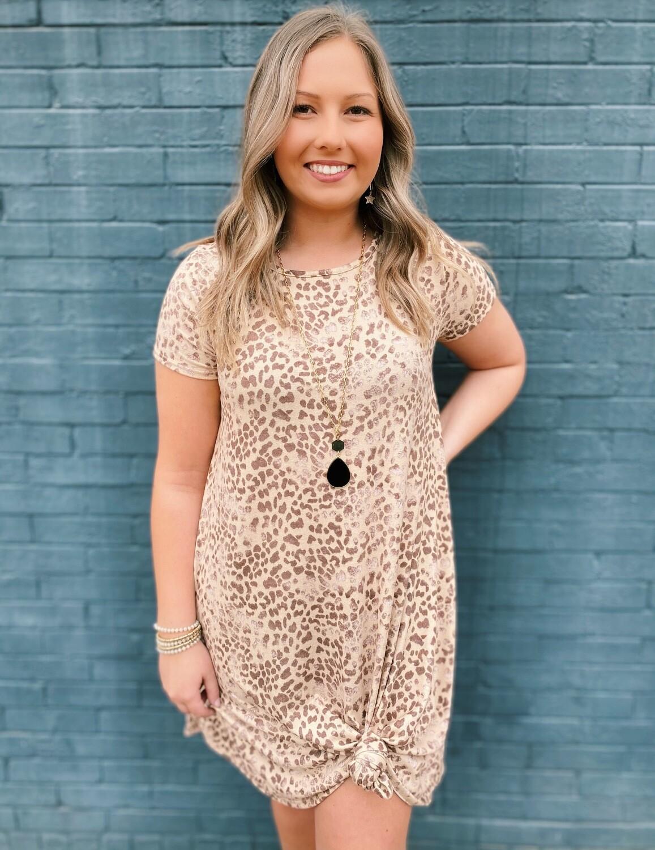Light Leopard Knit Swing Dress