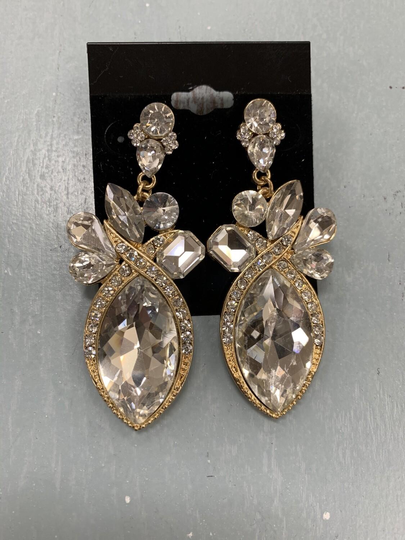 Formal Earrings Gold Clear Big Stone