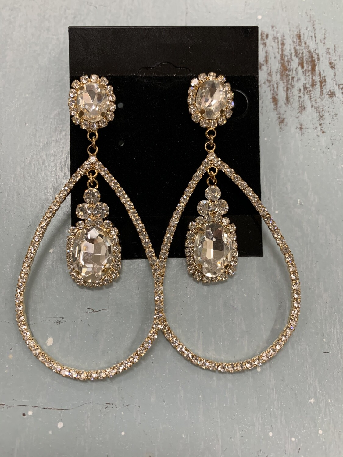 Formal Earrings Gold Clear Thin Round with Drop Stone