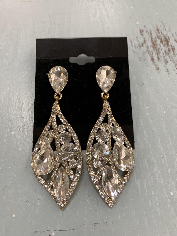Formal Earrings Gold Clear Leafy Style