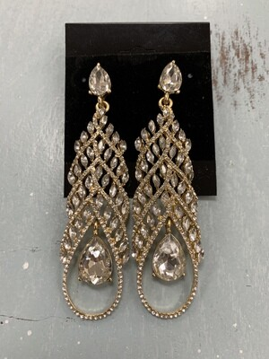 Formal Earrings Gold Clear Long Teardrop