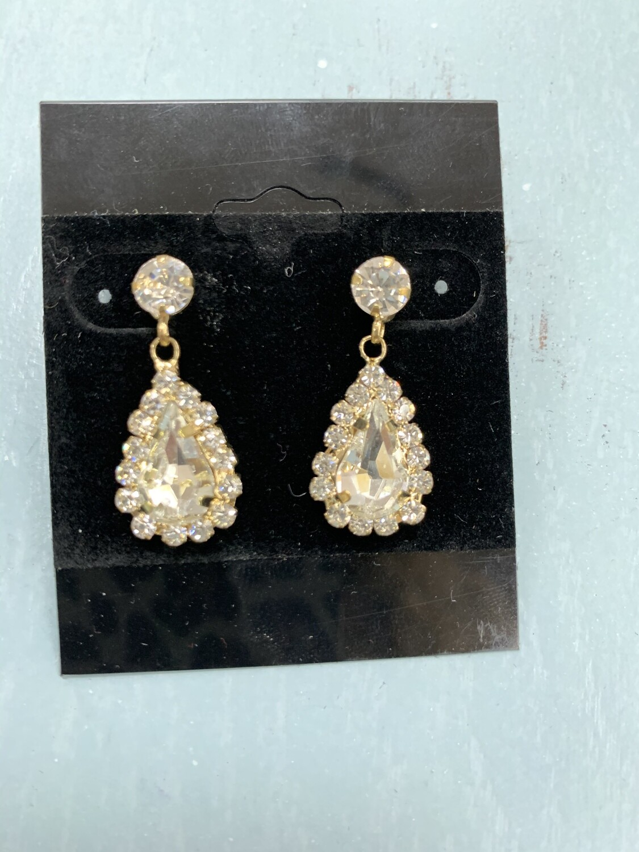 Formal Earrings Gold Clear XS Teardrop