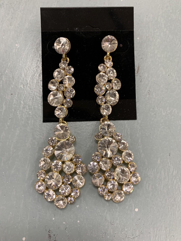 Formal Earrings Gold Clear Long Cluster