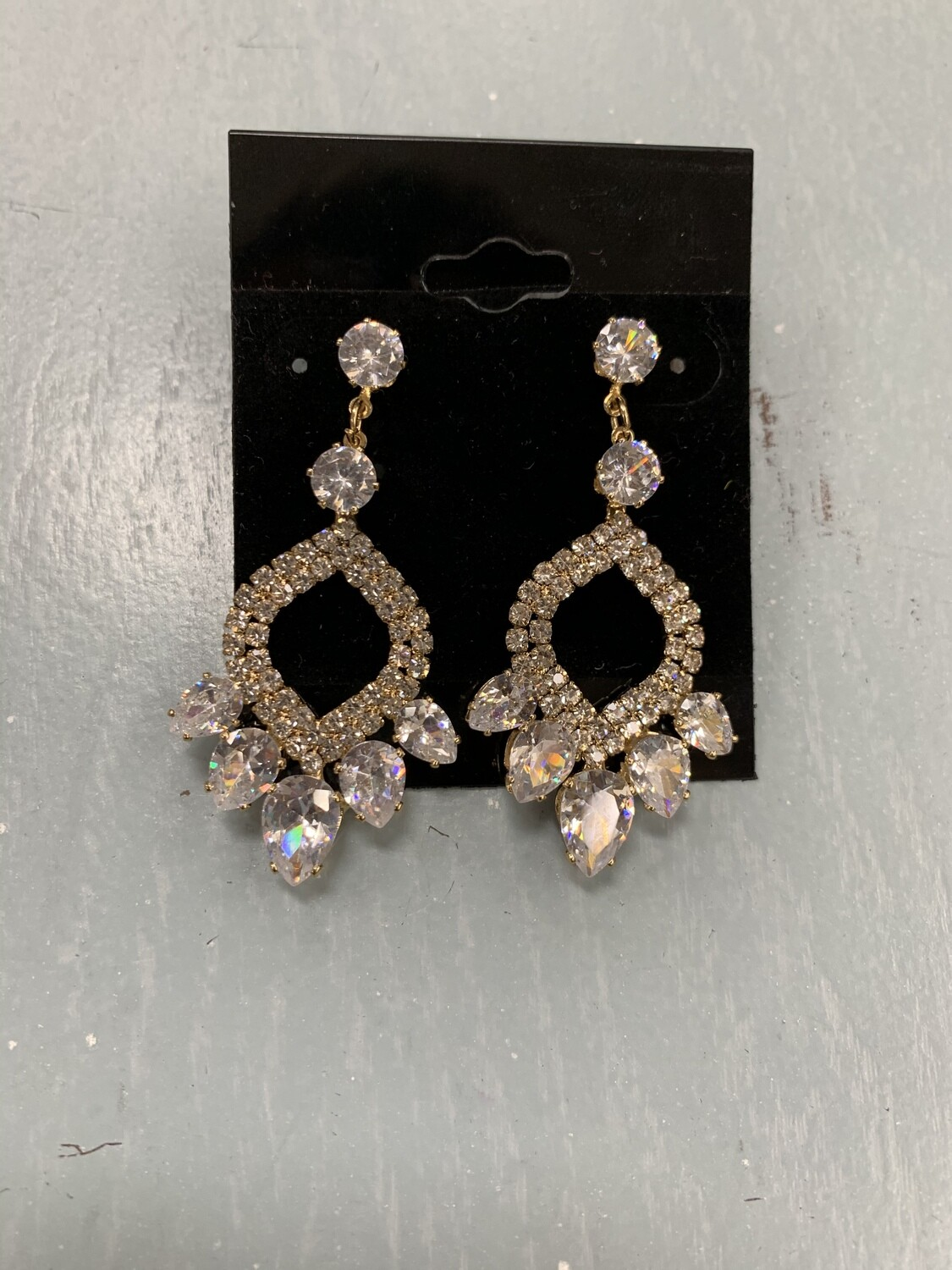 Formal Earrings Gold Clear CZ Pointed Circle