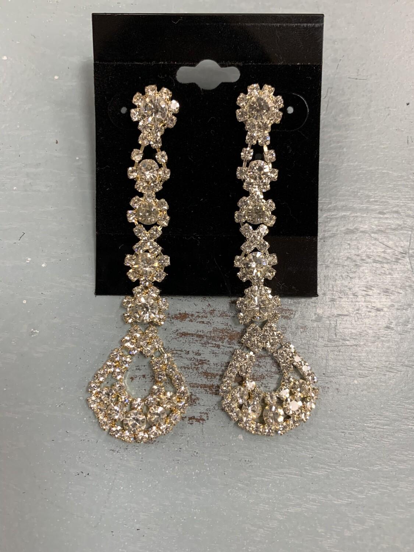 Formal Earrings Gold Clear Long Thin