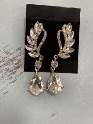 Formal Earrings Gold Clear Angel Style