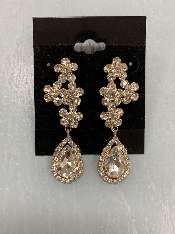 Formal Earrings Gold Clear Flower with Teardrop