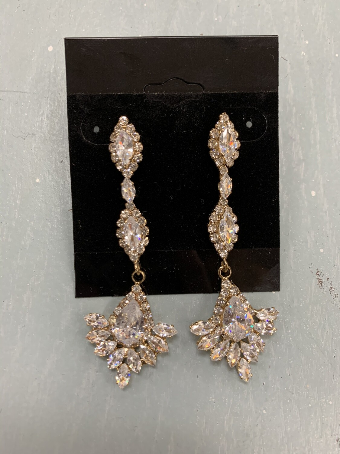 Formal Earrings Gold CZ