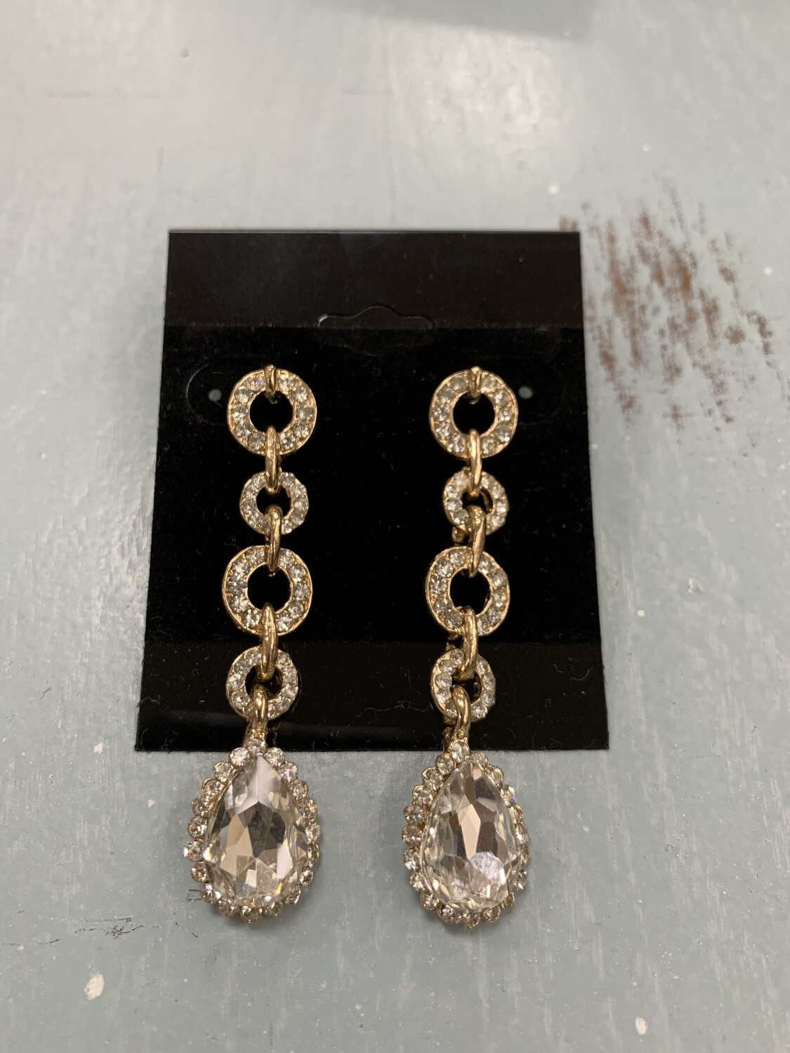 Formal Earrings Gold Clear Circles Thin