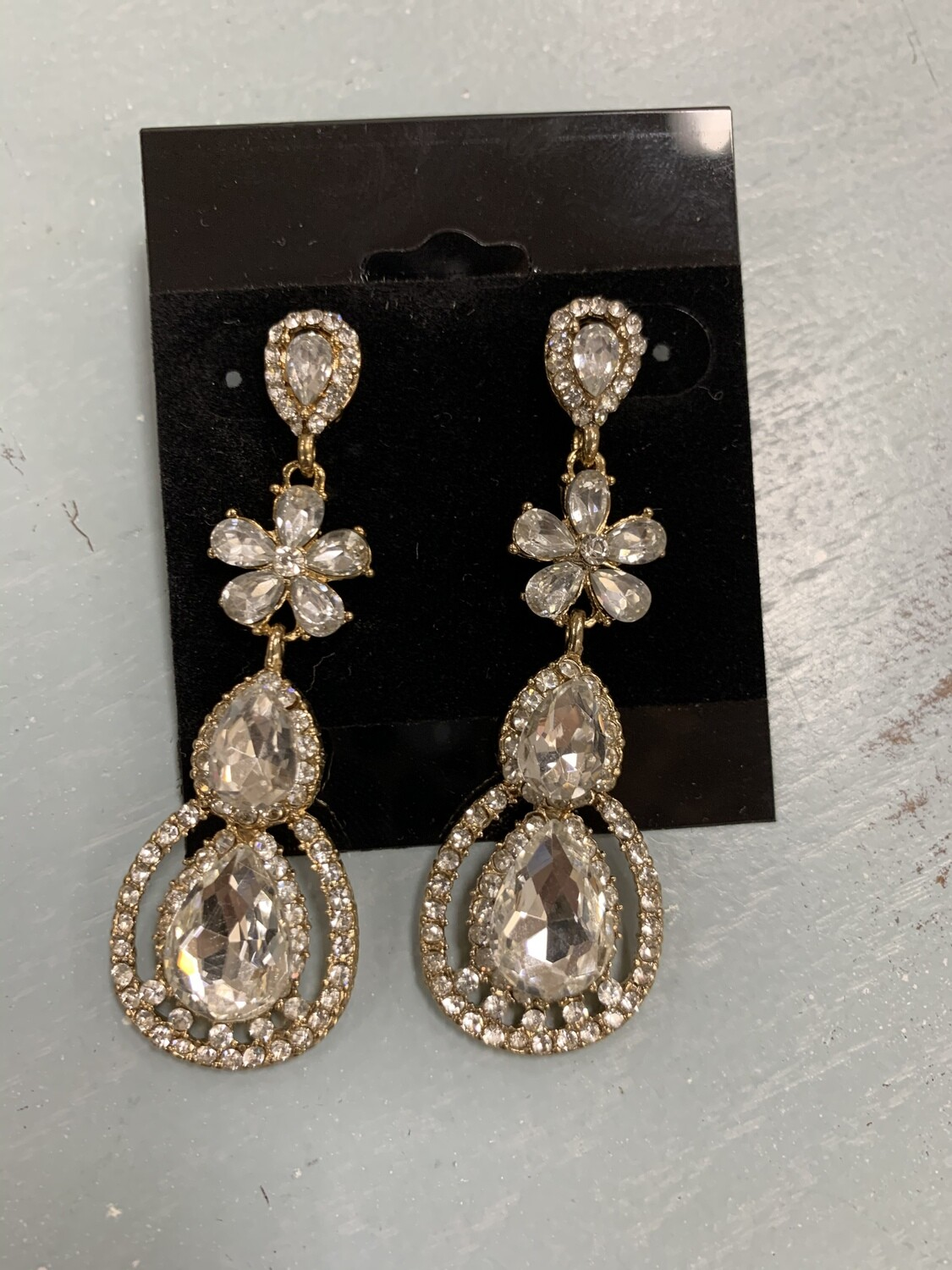 Formal Earrings Gold Clear Flower with Round Bottom