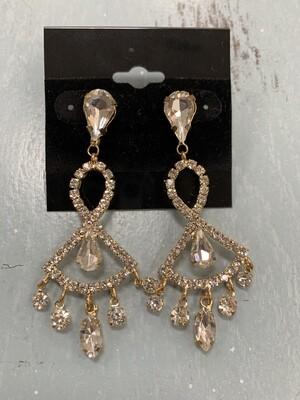 Formal Earrings Gold Clear Chandelier Style