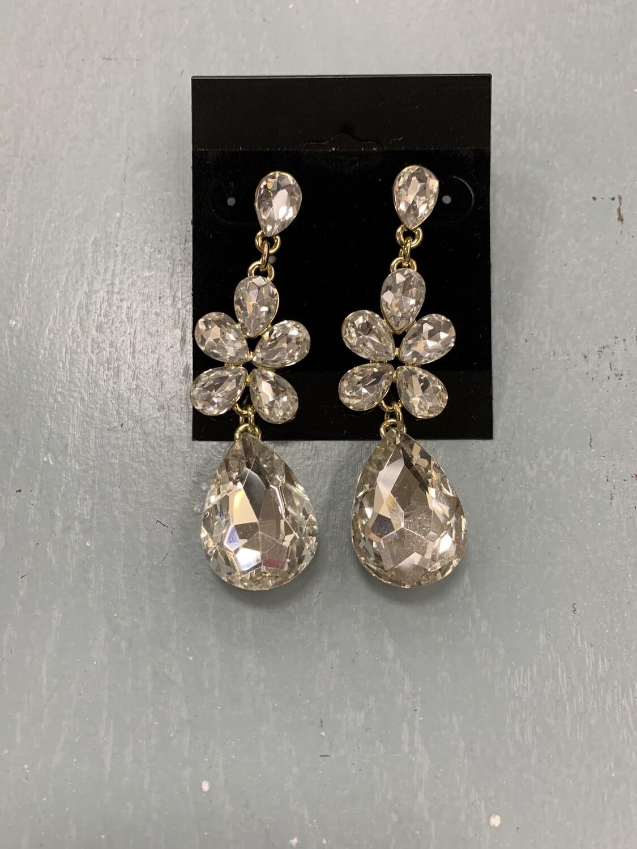 Formal Earrings Gold Clear Flower Middle