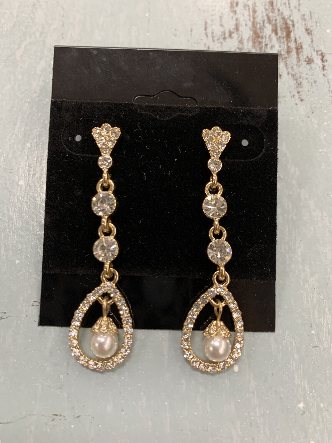 Formal Earrings Gold Clear with Sm Pearl