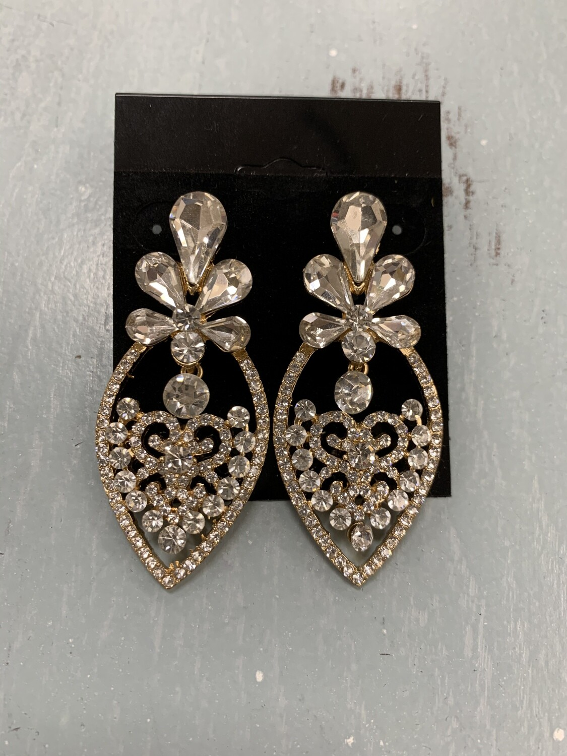 Formal Earrings Gold Clear Pointed
