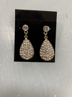 Formal Earrings Gold Clear Small Oval