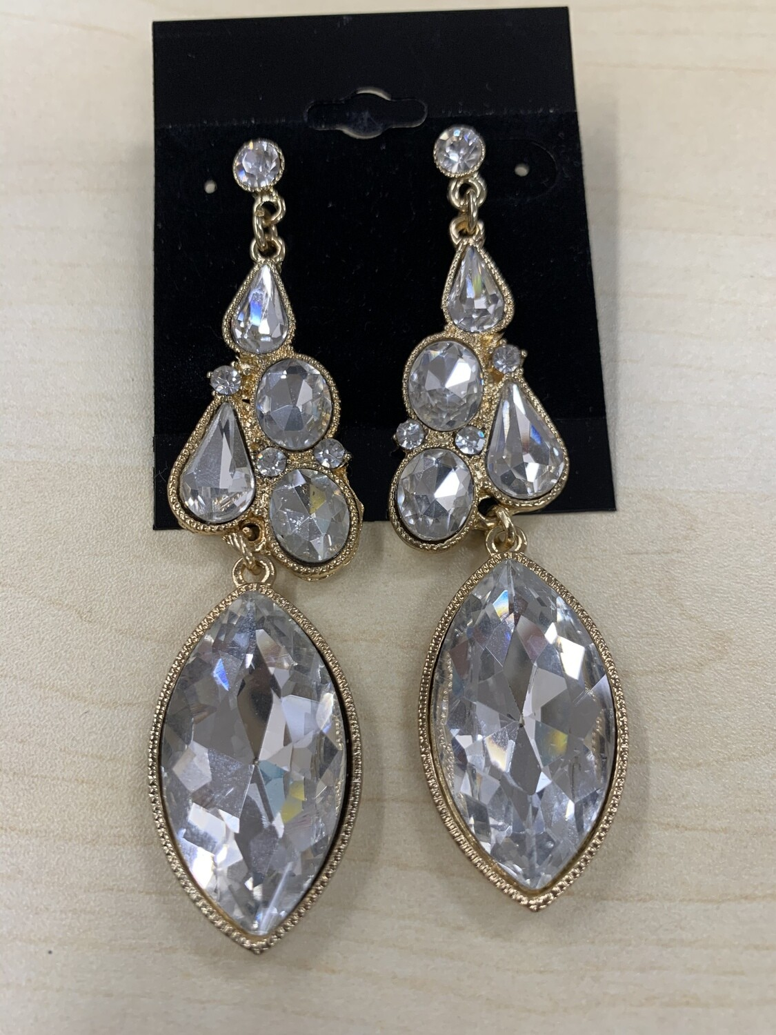 Formal Earrings Gold Clear Shaped Stones