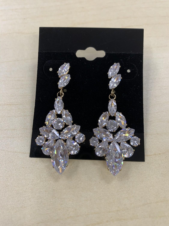 Formal Earrings Gold Clear CZ Stones