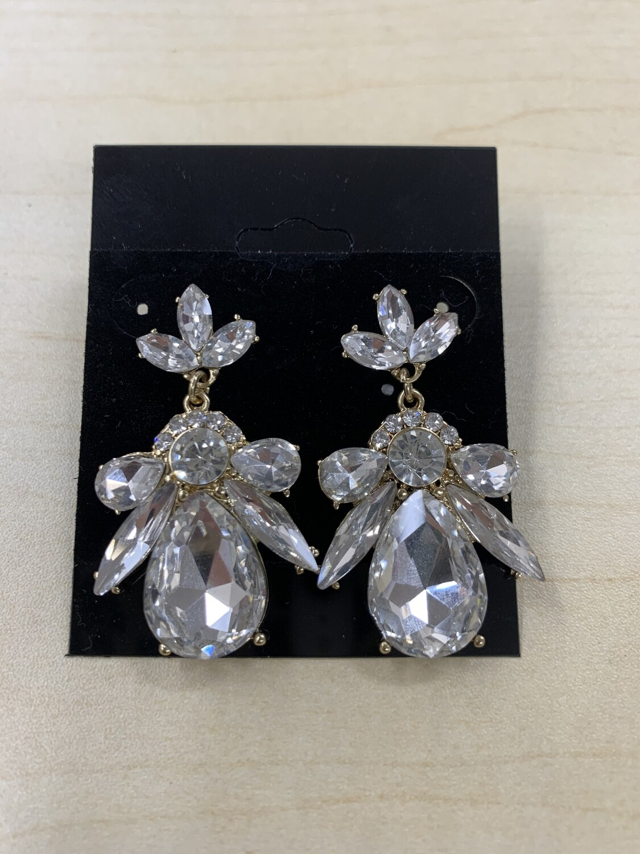 Formal Earrings Gold Clear Bee
