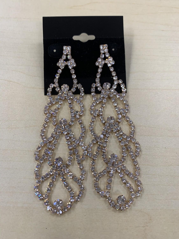Formal Earrings Gold Clear Long Chandelier