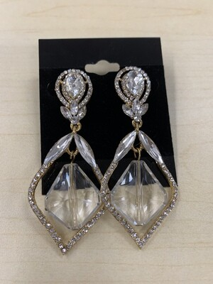 Formal Earrings Gold Clear Pointed Clear Stone