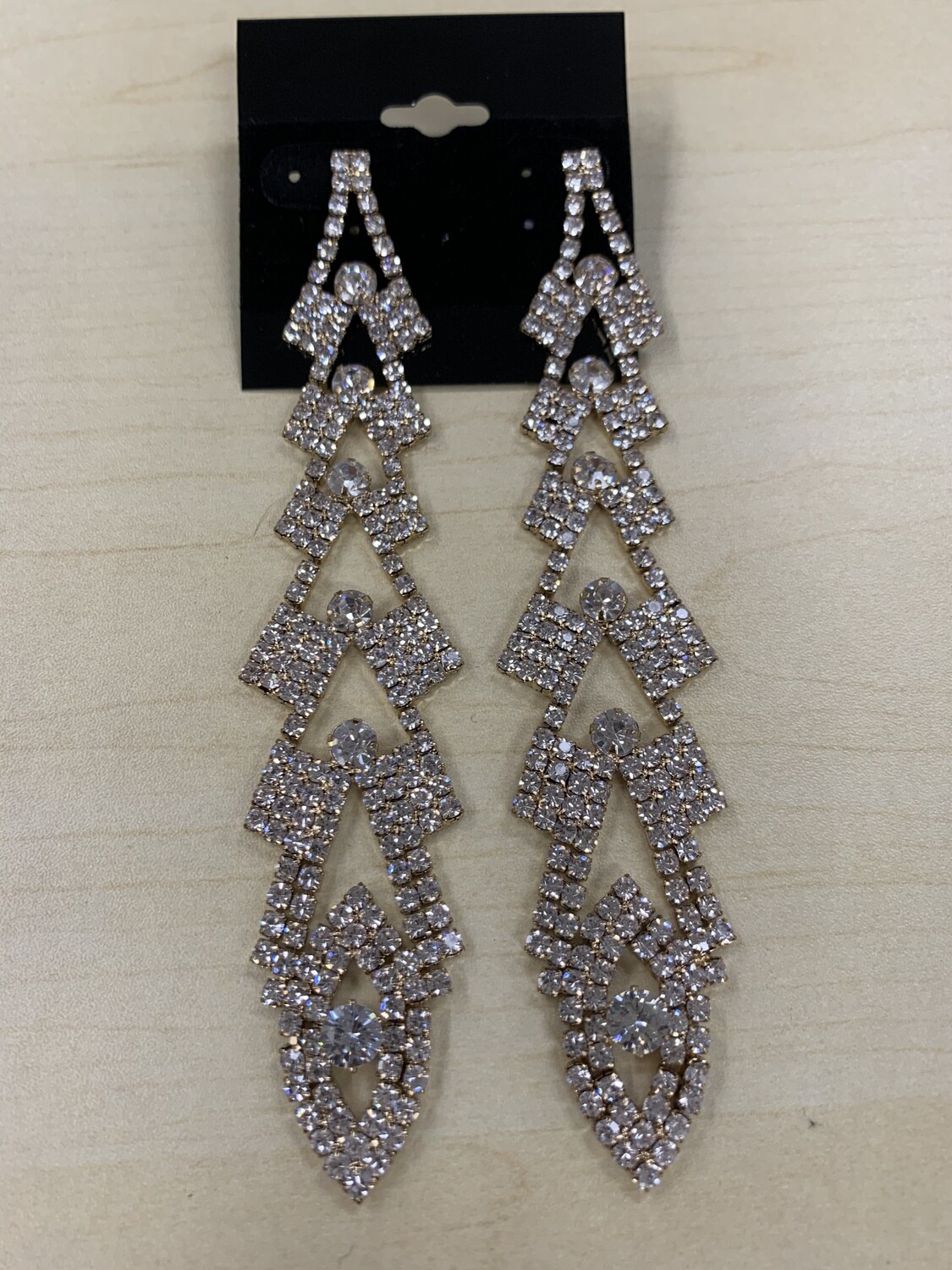 Formal Earrings Gold Clear Extra Long