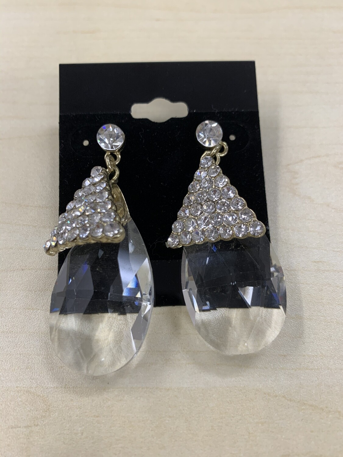 Formal Earrings Gold Clear Large Clear Stone