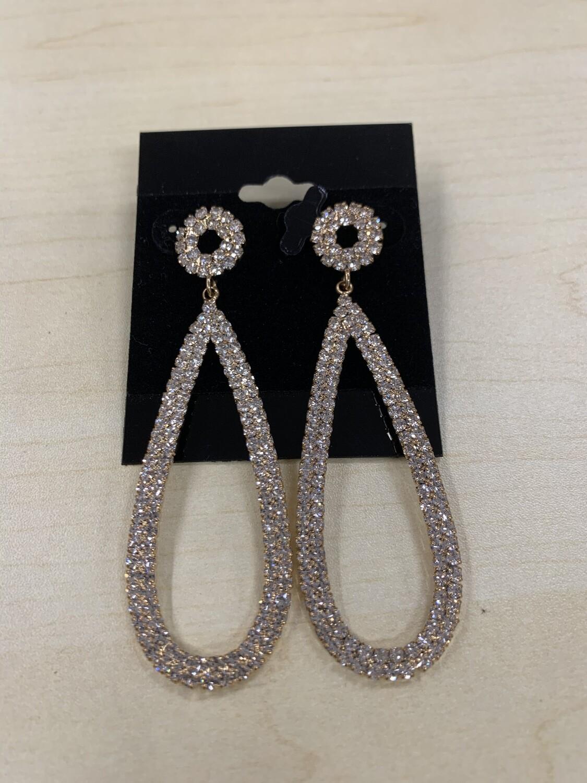 Formal Earrings Gold Clear Oval