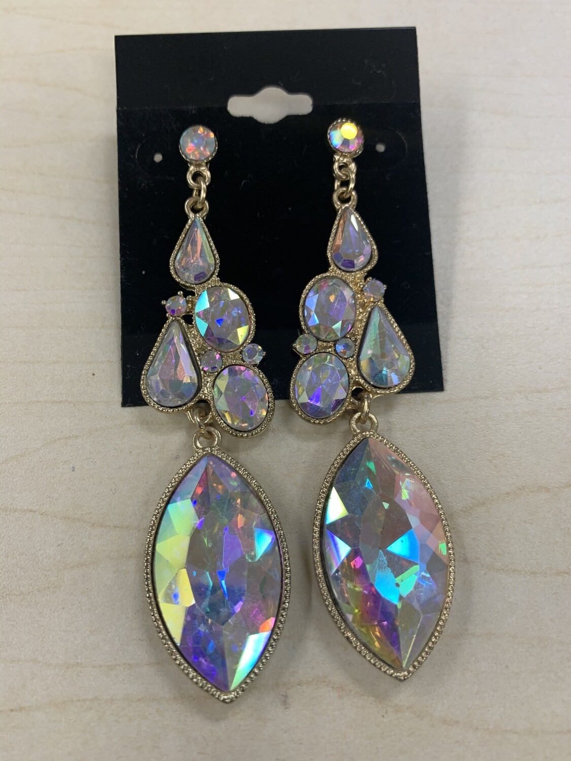 Formal Earrings Gold AB Shaped Stones