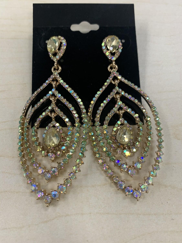 Formal Earrings Gold AB Peacock