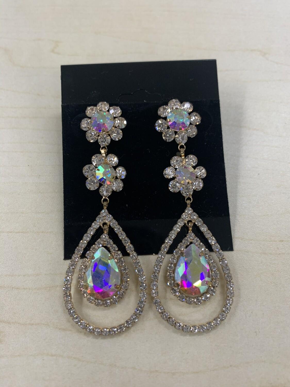Formal Earrings Gold AB Two Flower Teardrop
