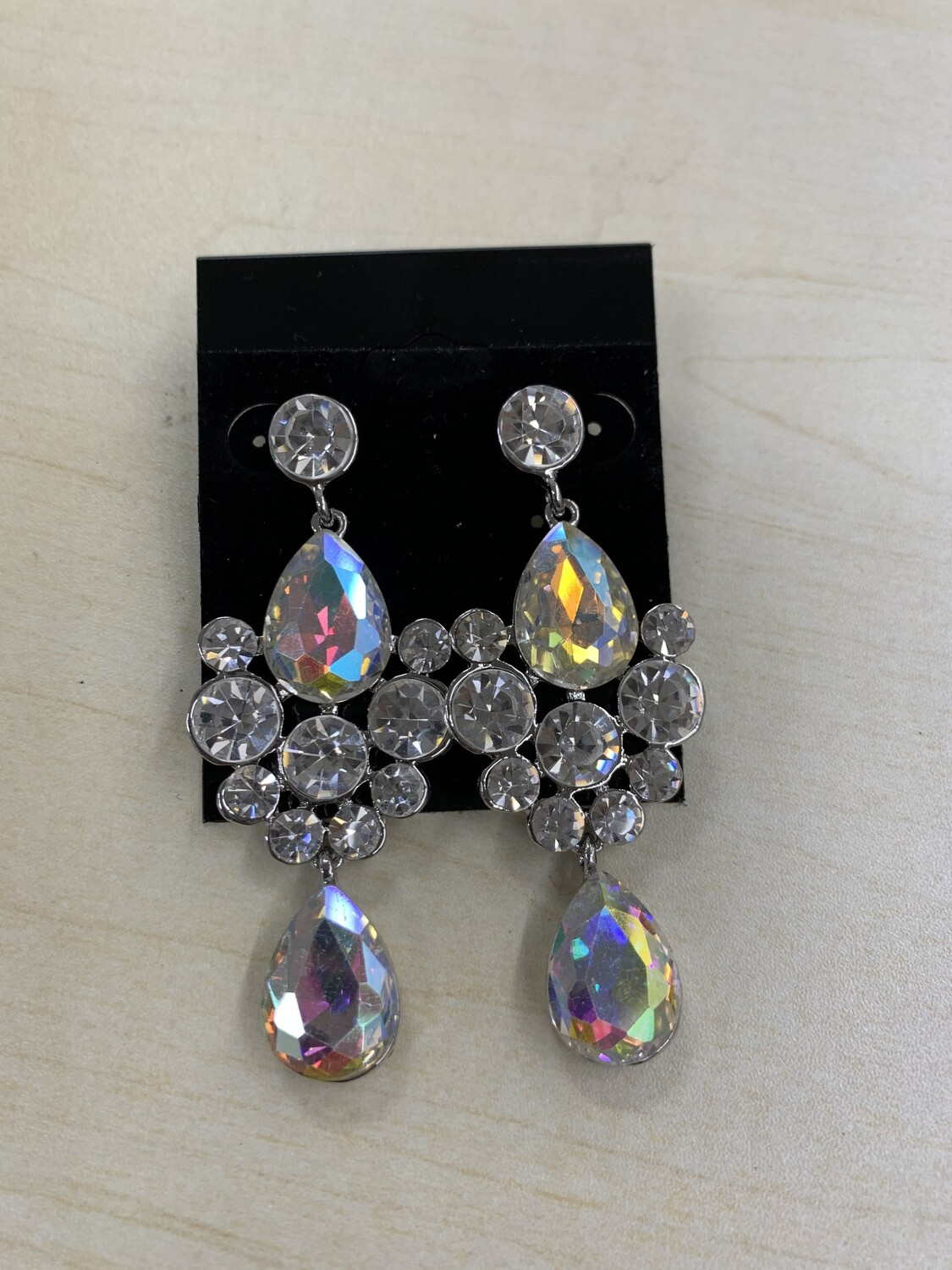 Formal Earrings Silver AB with Clear Stones